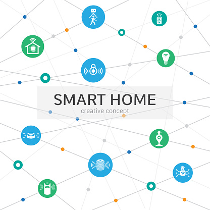 smart home infographic concept abstract background with lines circles  and icons motion sensor smart lock assistant