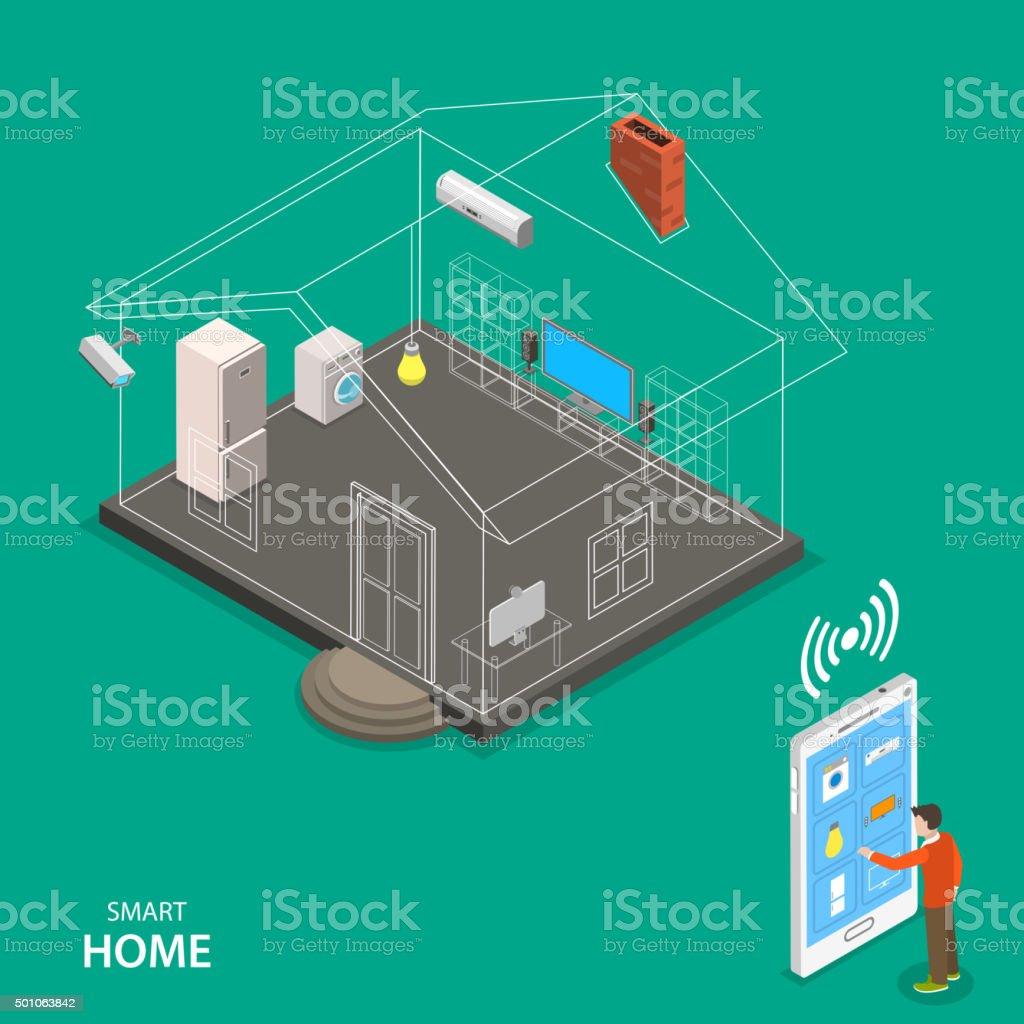 Smart home isometric flache Vektor-Konzept. Lizenzfreies smart home isometric flache vektorkonzept stock vektor art und mehr bilder von 2015
