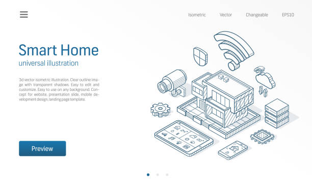 smart home isometric line illustration. technology house, control cctv network, modern architecture building business sketch drawn icons. automation system, iot concept. - ilustracje z kategorii architektura stock illustrations