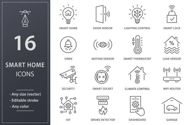illustrazioni stock, clip art, cartoni animati e icone di tendenza di smart home line icons set. black vector illustration. editable stroke. - sensore