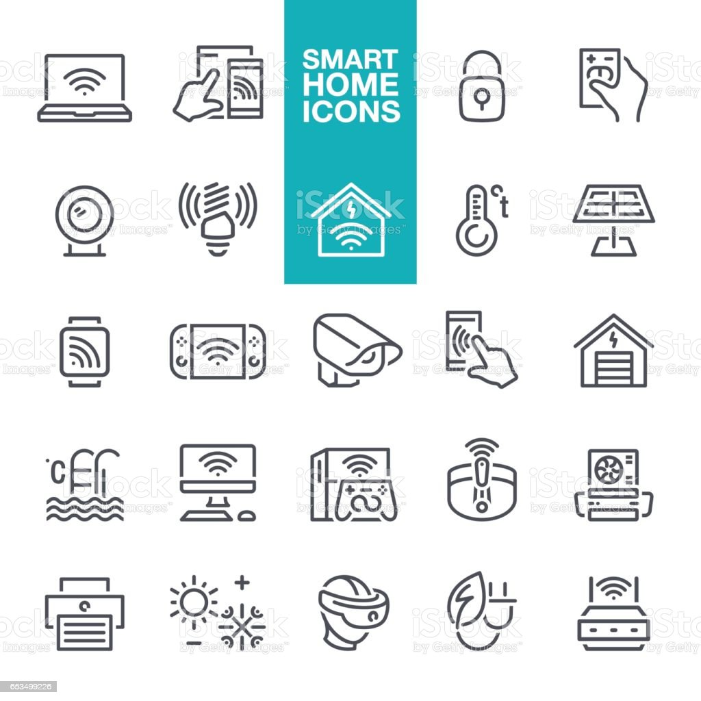 Smart Home Line Icons vector art illustration