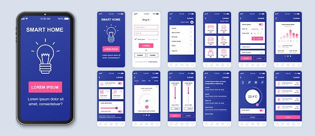 Smart Home Mobile App Interface Vector Templates Set - Stockowe grafiki wektorowe i więcej obrazów Aplikacja mobilna