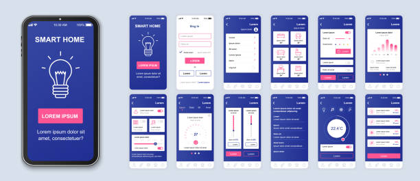Smart home mobile app interface vector templates set. vector art illustration