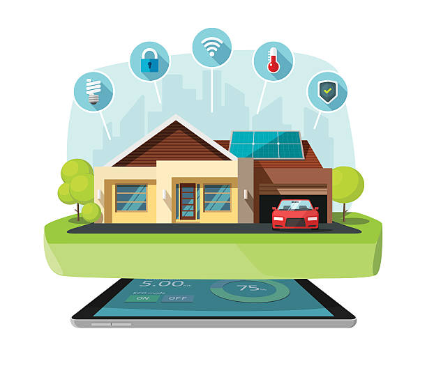 ilustrações de stock, clip art, desenhos animados e ícones de smart home modern future house vector illustration, solar energy technology - house garage