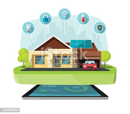Smart Home Modern Future House Vector Illustration Solar
