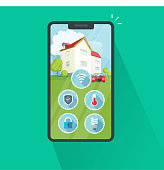 Smart home on cell phone vector illustration, flat cartoon protection and security remote control technology for house via cellphone or smartphone isolated