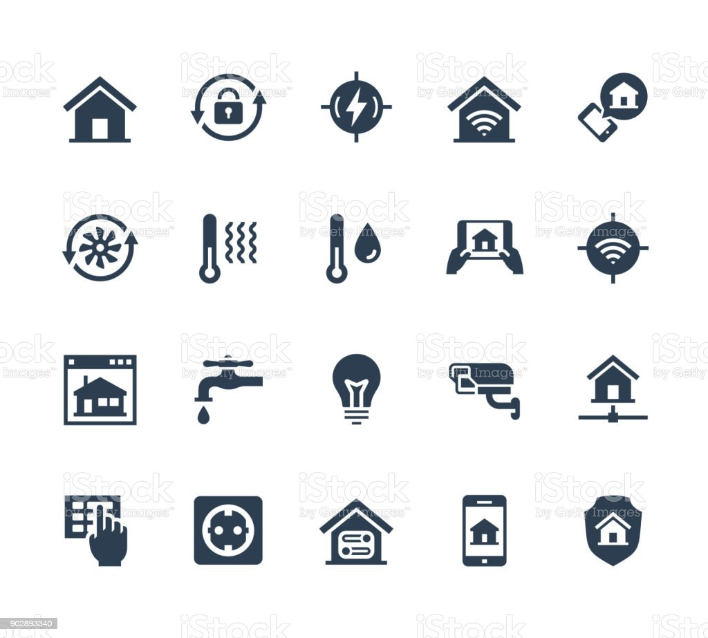 Smart home related vector icon set