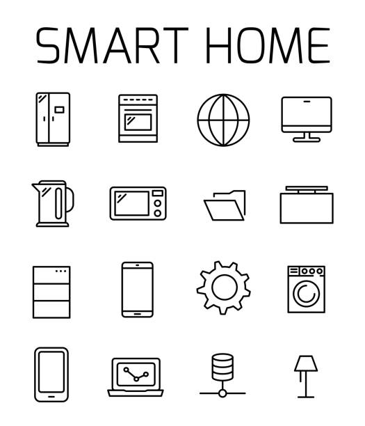 Smart home related vector icon set. vector art illustration