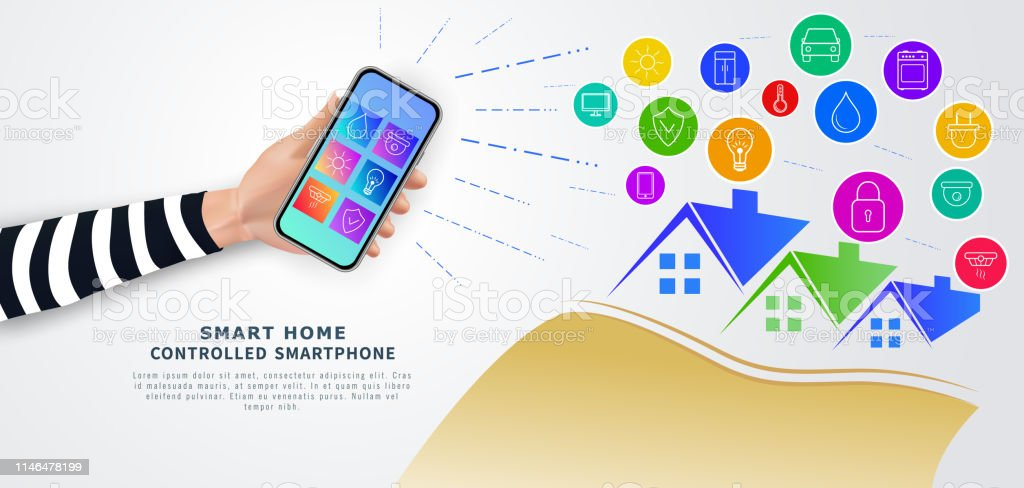 Smart Home Remote Control With Mobile Phone Hand Holding