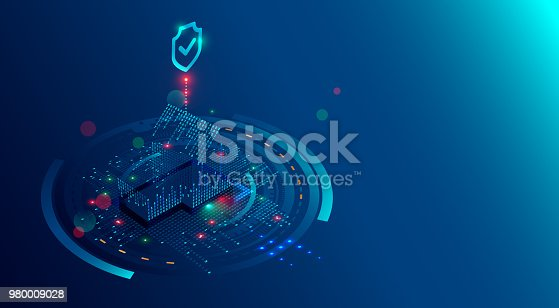 istock Smart Home Security System concept background. Protection software of IOT or internet of things. Cyber security of house devices. 3D isometric home of lights digits protected shield. 980009028