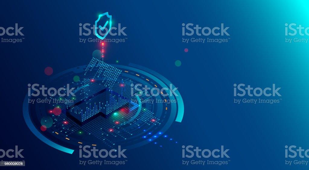 Fundo de conceito inteligente sistema de segurança Home. Software de proteção de IOT ou internet das coisas. Cyber segurança de dispositivos de casa. Home 3D isométrica, de dígitos luzes protegido por escudo. - ilustração de arte em vetor