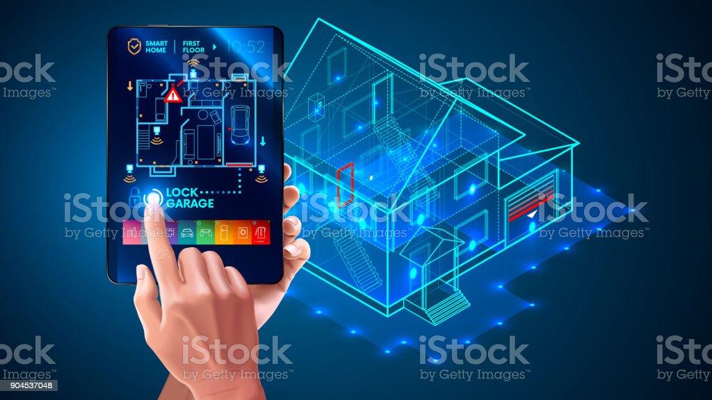 Ilustración de Iot Interfaz De La Aplicación Del Sistema De Casa ...
