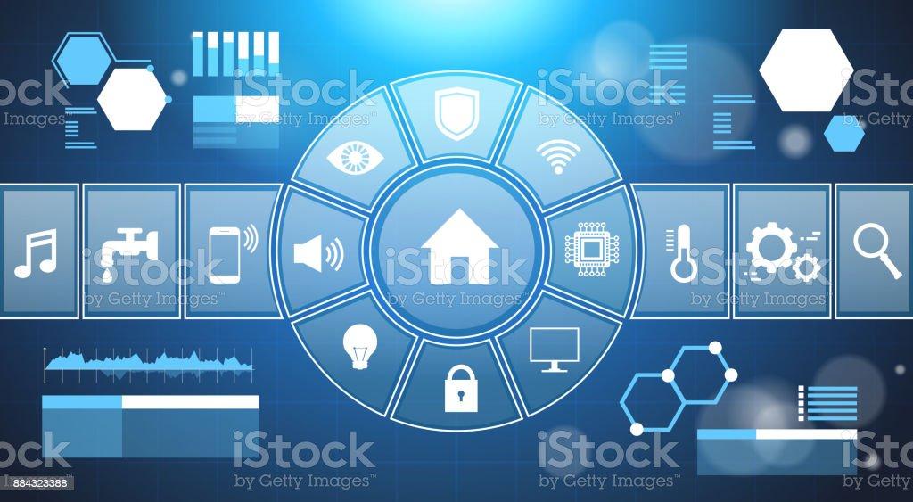 Ilustraci n de panel de control casero elegante sistema for Casa moderna tecnologica