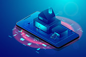 Smart home technology concept. Isometric smartphone and house with iot wireless icons electronics on blue background. Vector illustration in 3d style.