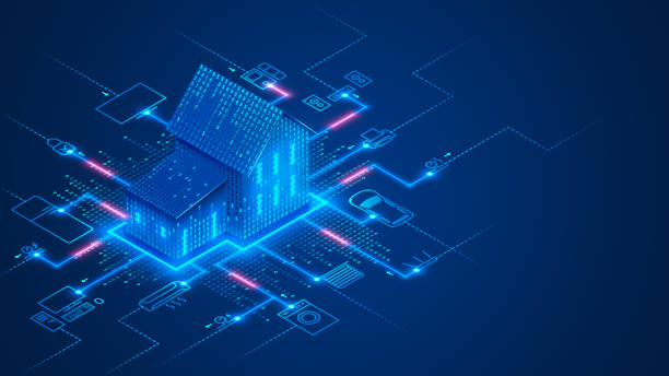 Smart home technology conceptual banner. Building consists digits and connected with icons of domestic smart devices. illustration concept of System intelligent control house on blue background. IOT. Smart home technology conceptual banner. Building consists digits and connected with icons of domestic smart devices. illustration concept of System intelligent control house on blue background. IOT. security stock illustrations