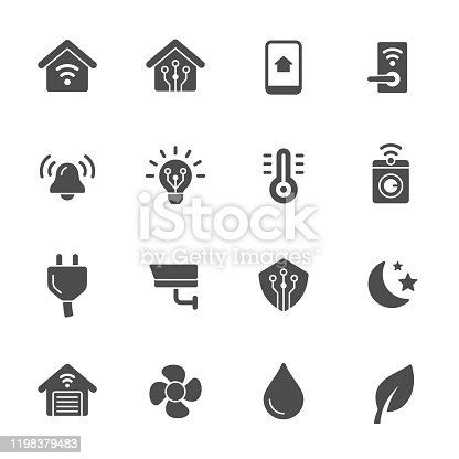 Smart home system vector icon set