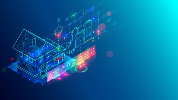 ilustrações de stock, clip art, desenhos animados e ícones de smart home technology.  internet of things. iot.  isometric concept. - obras em casa janelas