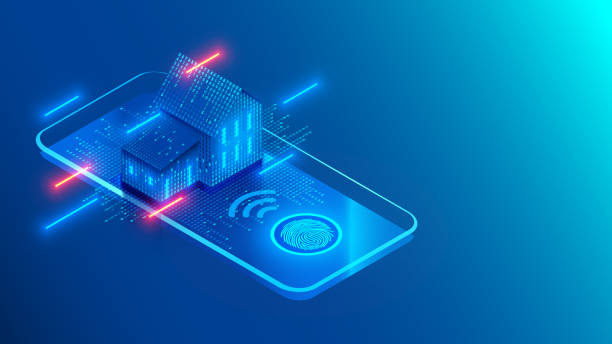 illustrazioni stock, clip art, cartoni animati e icone di tendenza di smart home technology on screen smartphone on blue background. internet of things conceptual isometric illustration. digital house. access to iot systems using a fingerprint on a mobile phone. - telecomando background