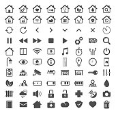 Smart home technology silhouette vector icons isolated on white background. Smart house automation control system symbols. Modern infographic icons for web, mobile apps and ui design