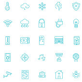 Smart Home Thin Line Icon. Home automation. Set