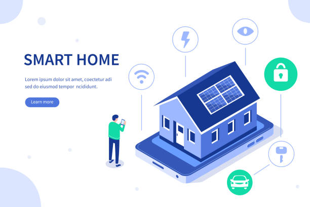 ilustrações de stock, clip art, desenhos animados e ícones de smart home - solar panel