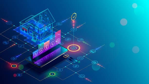 stockillustraties, clipart, cartoons en iconen met slimme huis met internet van dingen isometrische concept. iot technologie in huis automatisering - alarm, home,