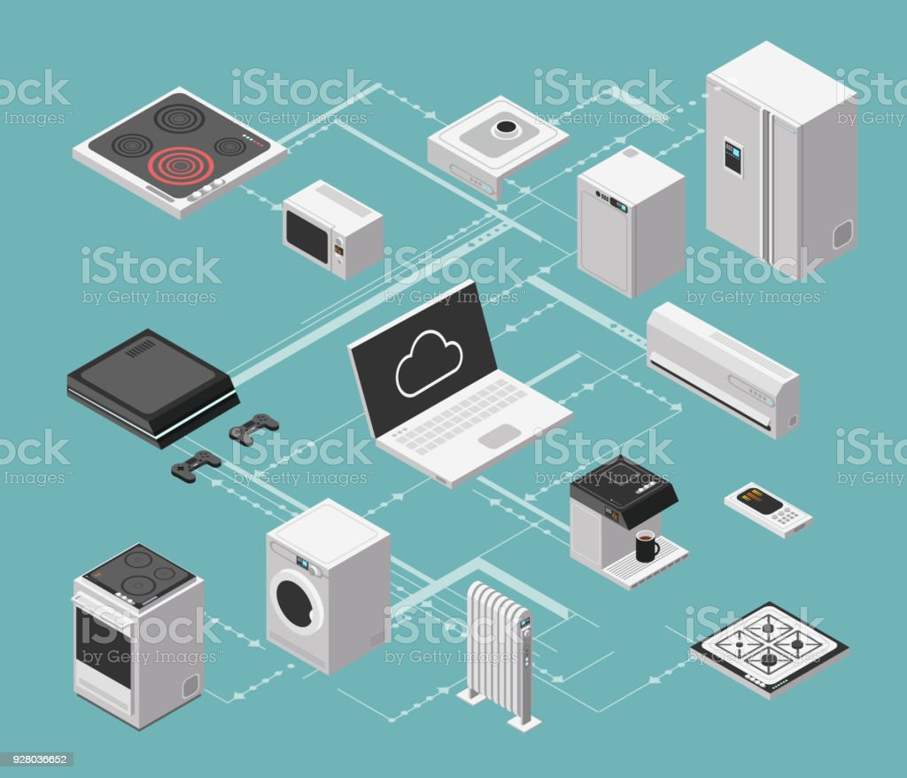 Smart House And Electrical Control Isometric Concept With Domestic ...