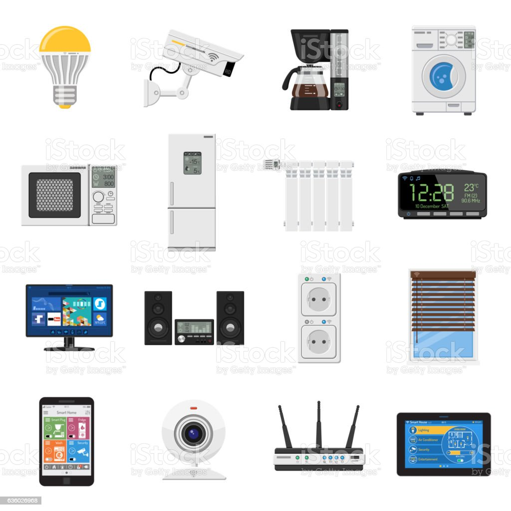 Smart House and internet of things flat icons set vector art illustration