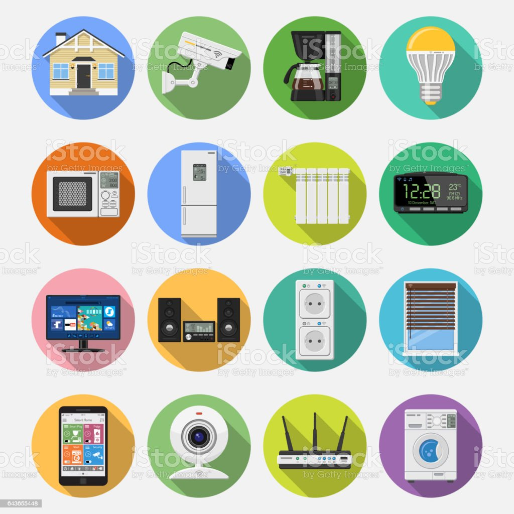 Intelligentes Haus Und Internet Der Dinge Flach Icons Set Stock ...