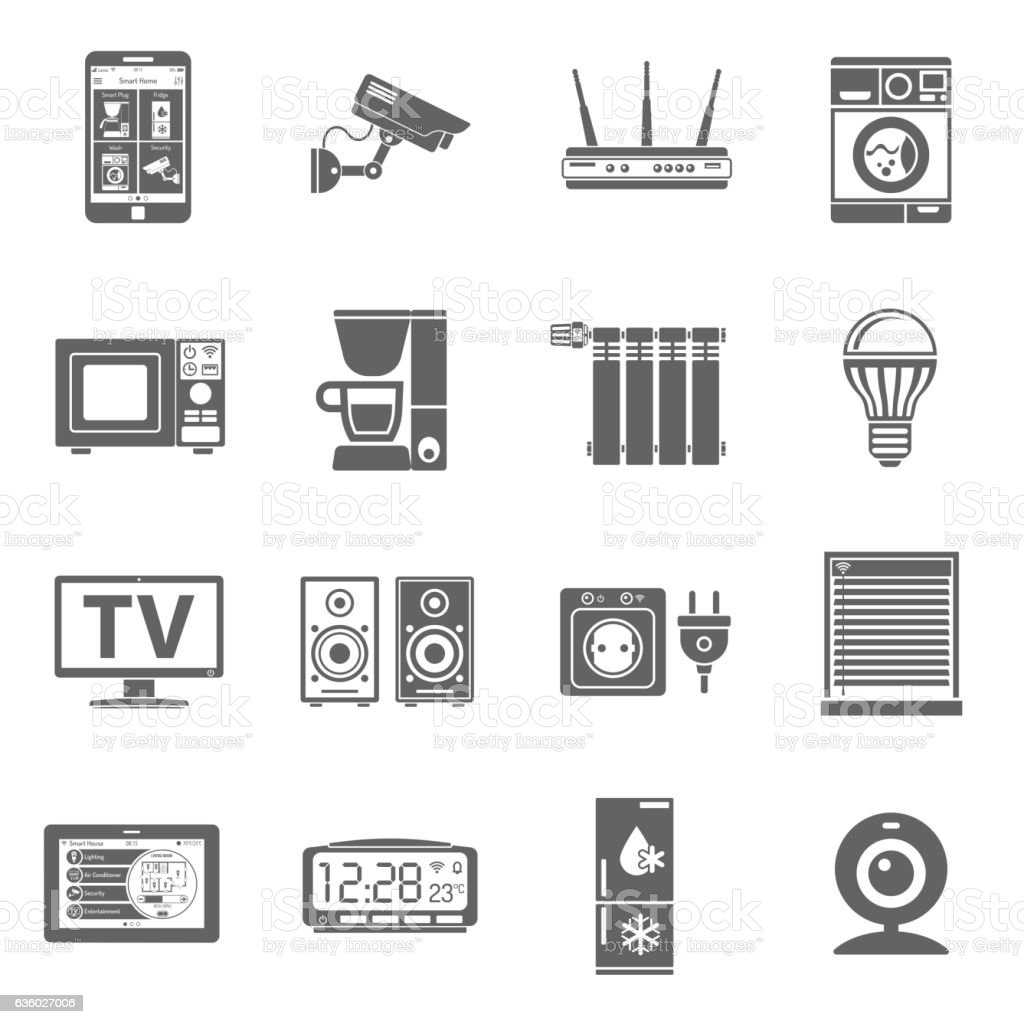 Smart House and internet of things icons set vector art illustration