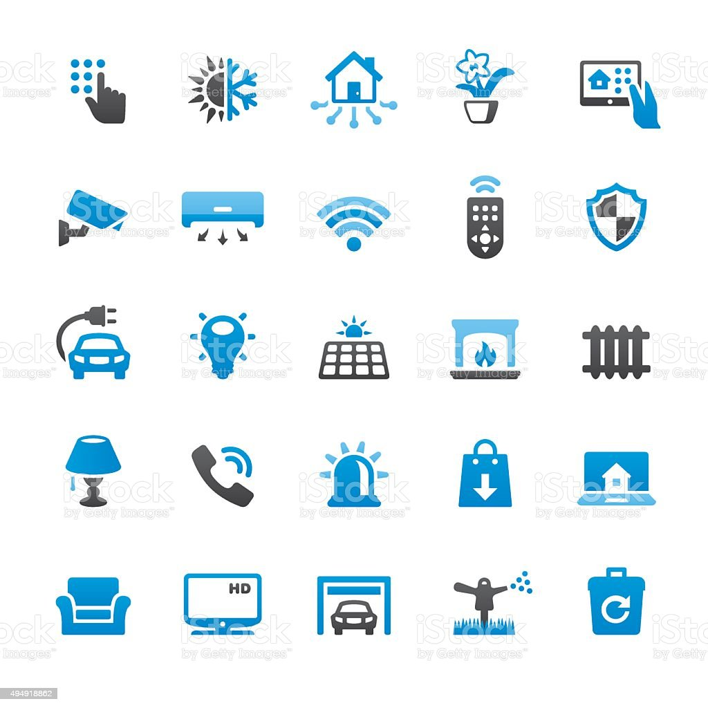 Burglar Alarm Cost >> Smart House And Internet Of Things Related Vector Icons Stock Illustration - Download Image Now ...