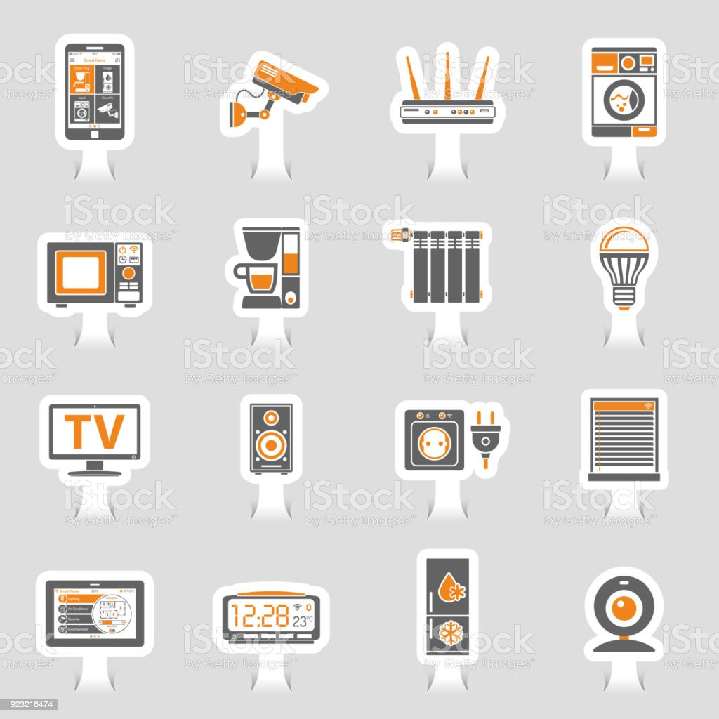 Intelligentes Haus Und Internet Der Dinge Aufkleber Symbole ...