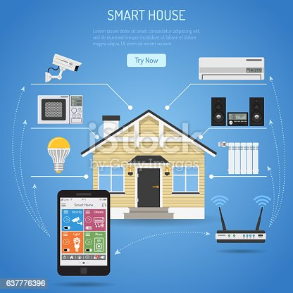 Smart House and internet of things concept. smartphone controls smart home like security cam, light air conditioning radiator and music center flat icons. vector illustration