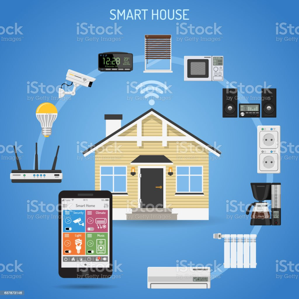 Smart House And Internet Of Things Stock Vector Art & More Images of ...