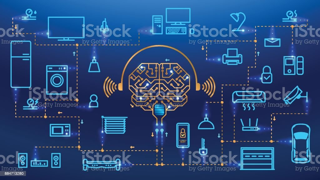 Fondo de vector de concepto de casa inteligente - arte vectorial de Aplicación para móviles libre de derechos