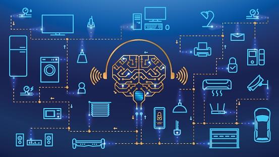 Ilustración de Fondo De Vector De Concepto De Casa Inteligente y más Vectores Libres de Derechos de Aplicación para móviles
