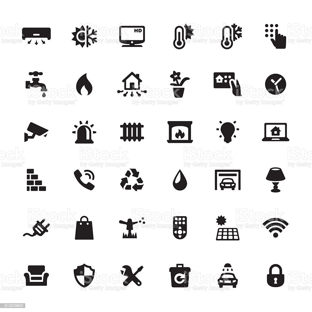 Smart House Features vector icons vector art illustration