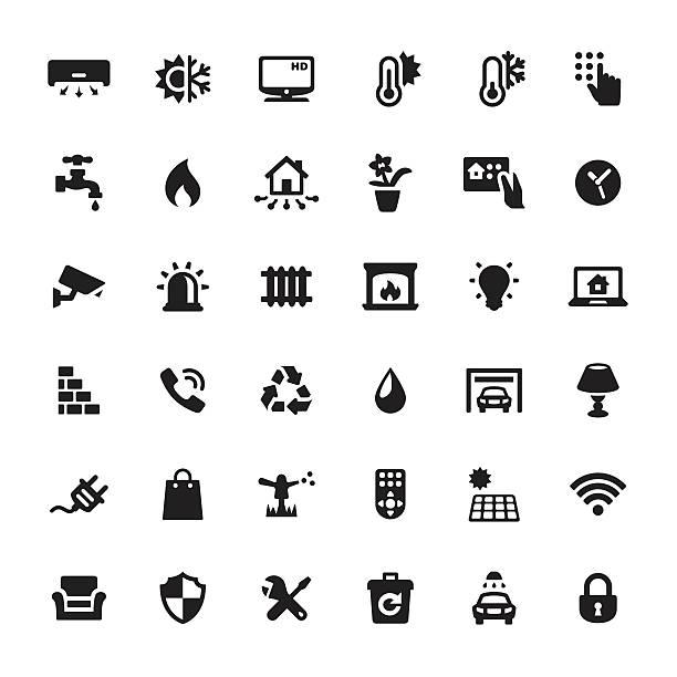 ilustrações de stock, clip art, desenhos animados e ícones de casa inteligente com ícones vetoriais - braseiro