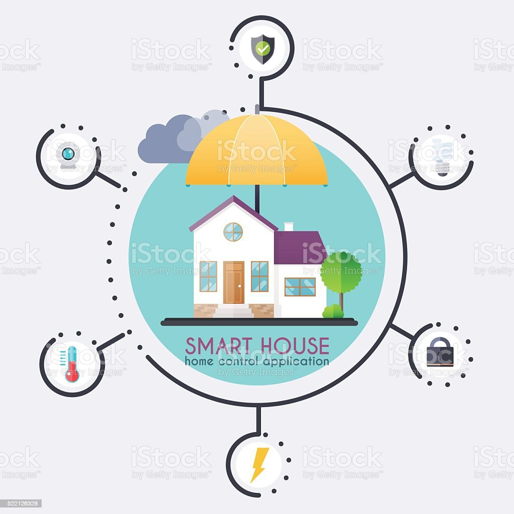 Smart house. Home control application concept and technology sys vector art illustration
