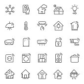 Smart house, icon set. Home automation system and household appliances, linear icons. Line with editable stroke