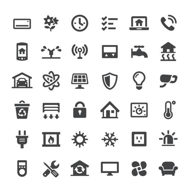 stockillustraties, clipart, cartoons en iconen met slimme huis icons - grote reeksen - alarm, home,