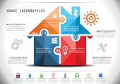 Smart House Infographics in Mosaic Style.
