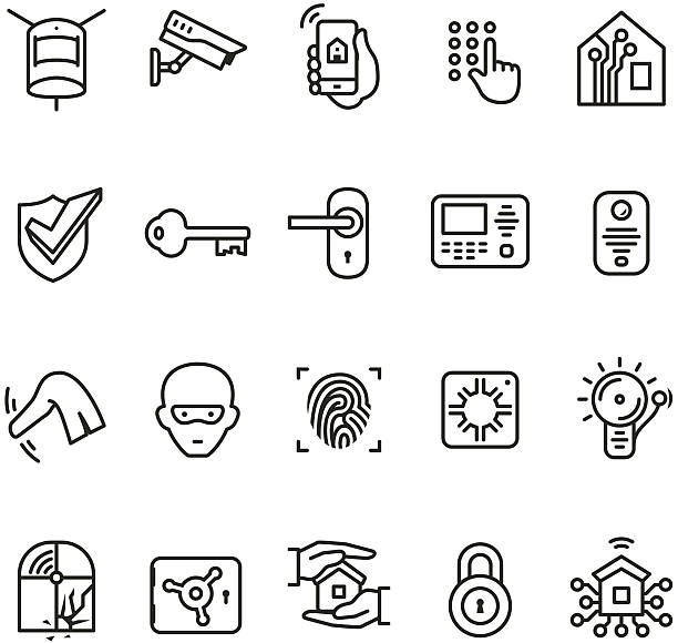 Smart house security system icon Smart house security system icons collection. safety deposit box stock illustrations