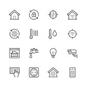 Smart house vector icon set in thin line style