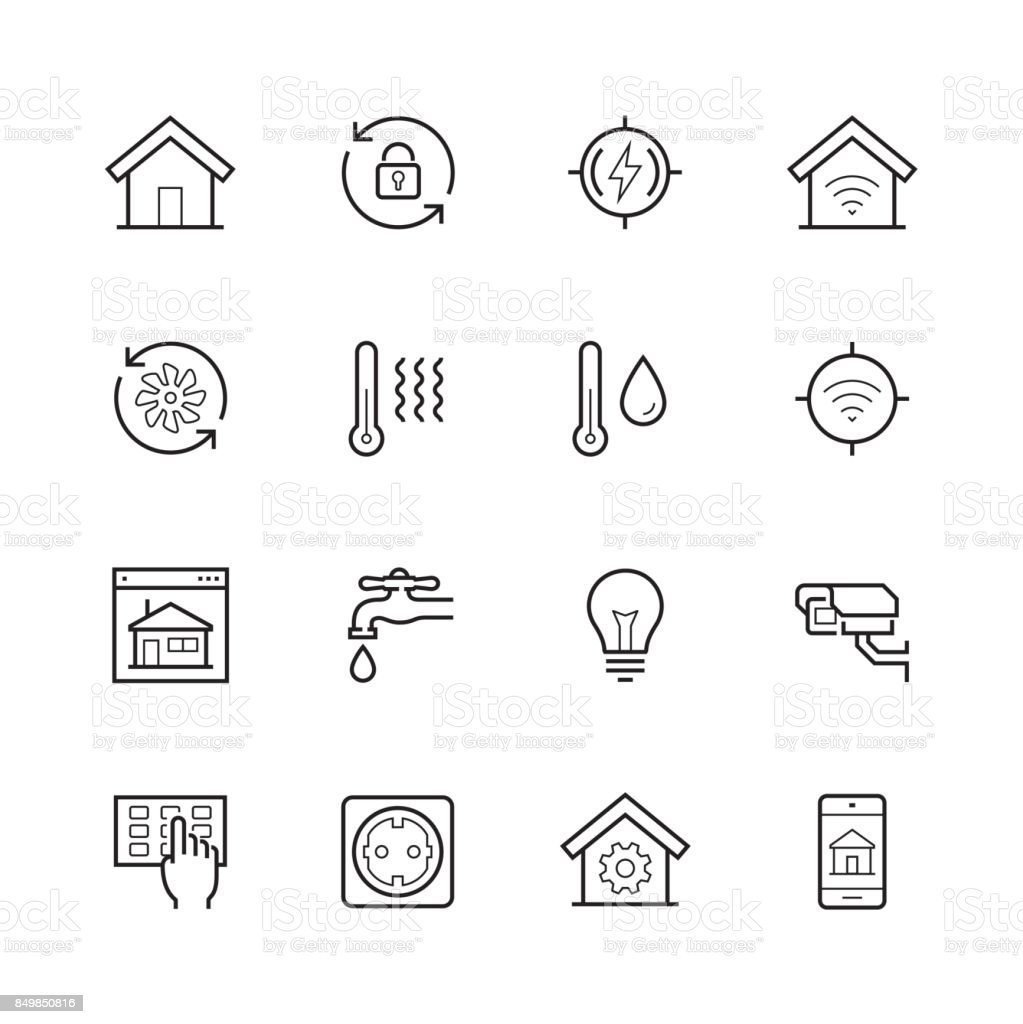 Smart house vector icon set in thin line style vector art illustration