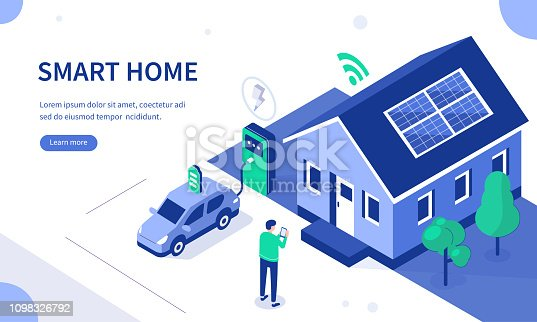 Smart house with solar panel and electric car. Can use for web banner, infographics, hero images. Flat isometric vector illustration isolated on white background.
