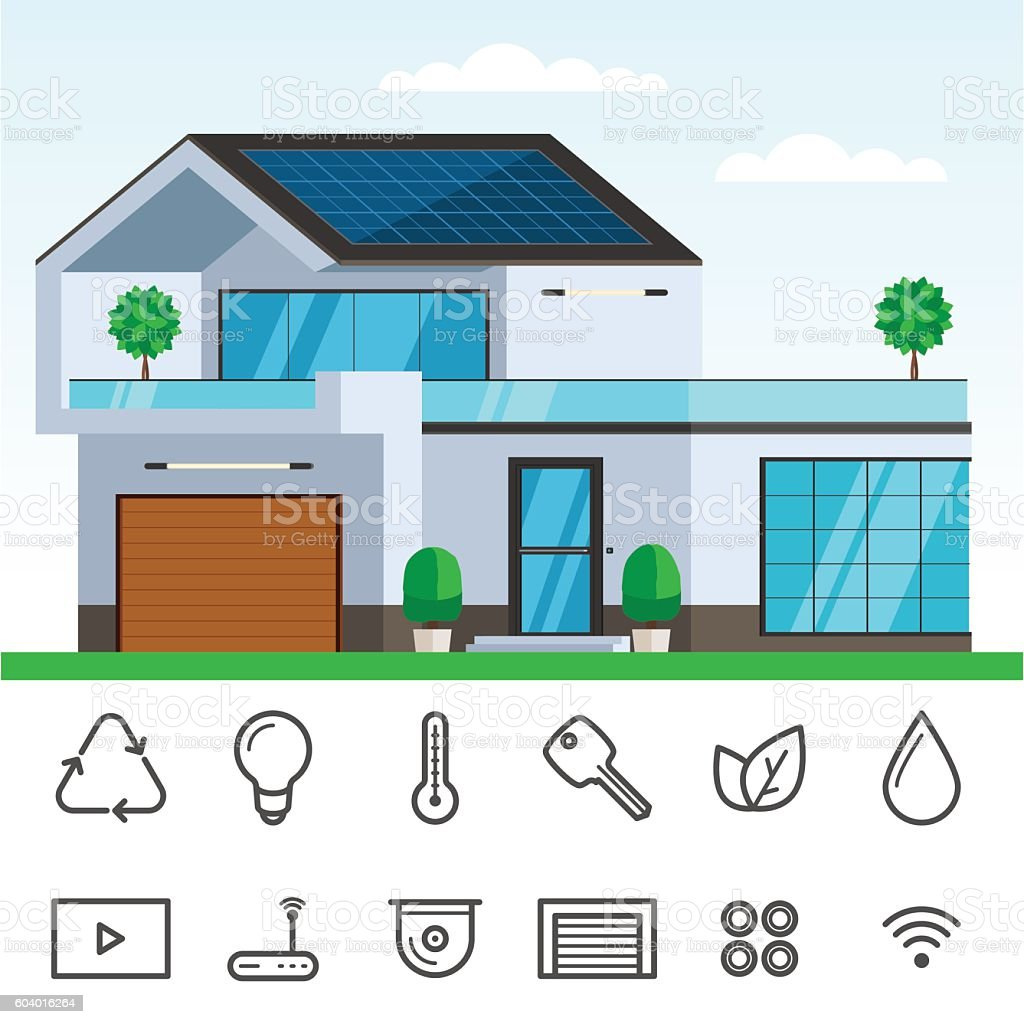 Amazing Smart House With Solar Panel Royalty Free Smart House With Solar Panel  Stock Vector Art