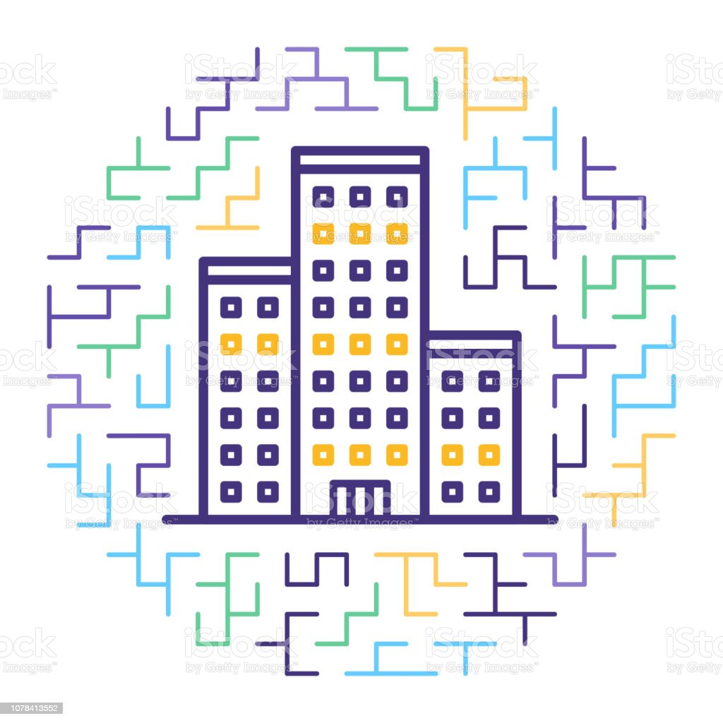 Smart Housing Certification Process Line Icon Illustration vector art illustration