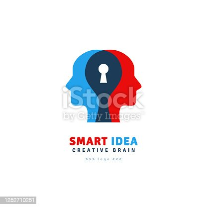 Smart Idea logo design isolated on white background. Vector illustration. Abstract man's heads with keyhole inside brain. Psychology and psychotherapy concept. Relationship problem and teamwork sign
