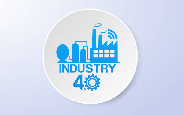 Smart Industrial  4.0 Technology concept Vector Smart Industrial  4.0 Technology concept Vector four people stock illustrations
